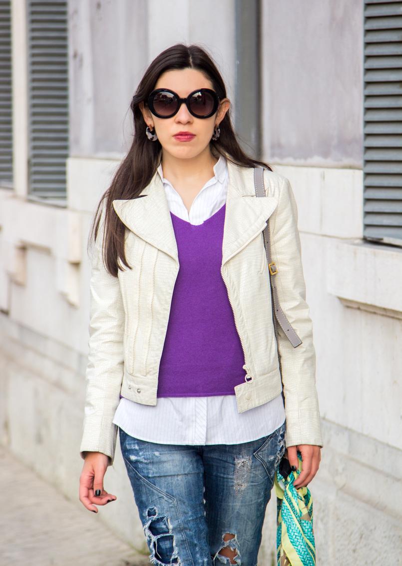 Le Fashionaire Faz acontecer! casaco branco polipele cobra zara camisola roxa caxemira massimo dutti camisa riscas brancas azuis larga zara oculos sol prada baroque pretos 6654 PT 805x1133