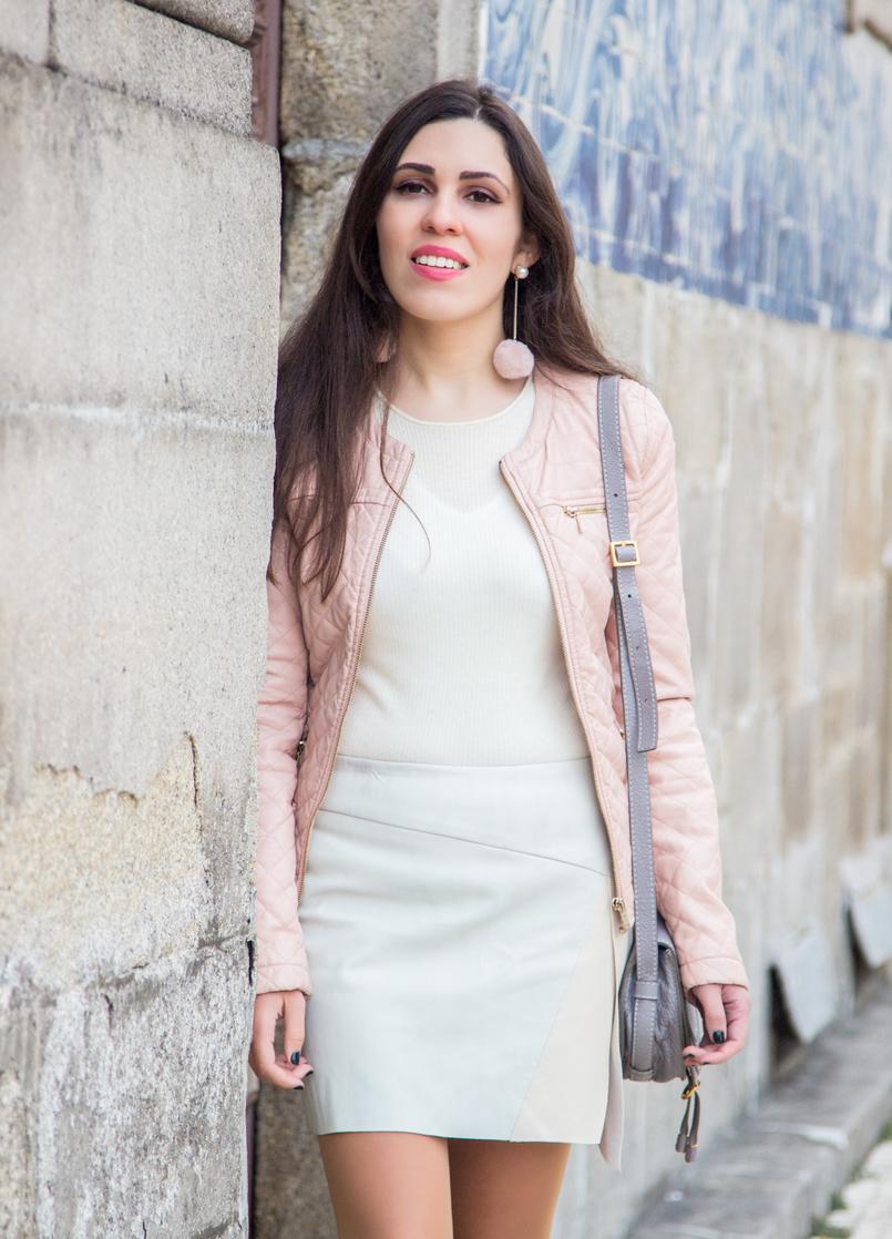 Le Fashionaire Ares de primavera casaco rosa claro polipele zara camisola branca canelada caxemira mango saia assimetrica cores pastel branco verde rosa zara 7320 PT 805x1118