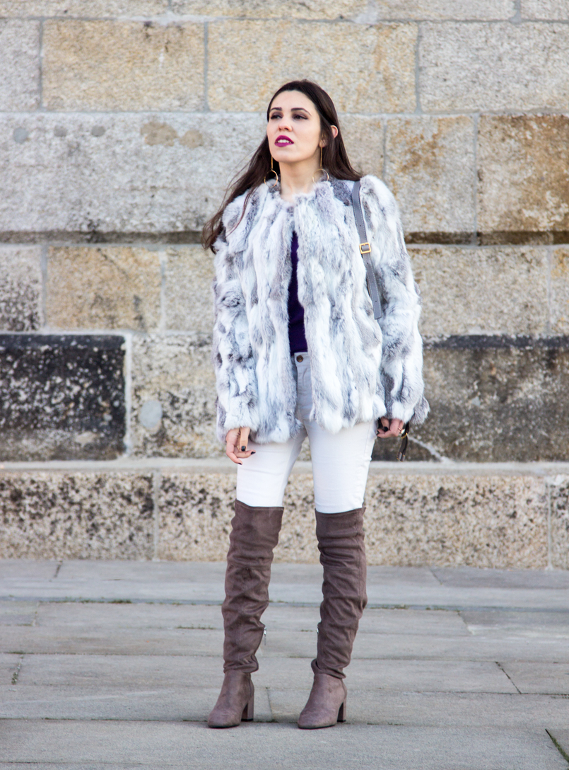 Le Fashionaire Hope fashion inspiration fur gray white sfera beautiful coat over knee suede gray bershka boots white mango skinny jeans 4241 EN 805x1088