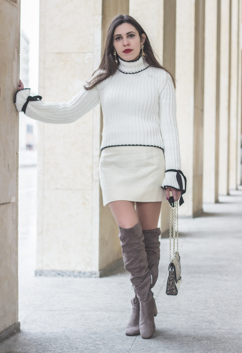 Le Fashionaire Dont be like the rest of them fashion inspiration knit sweater wool white bell sleeves black bow shein white nude old skirt over knee suede gray bershka boots 0959 EN 805x1173