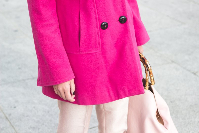 Le Fashionaire 50 shades of pink fashion inspiration wool pink coat outerwear front buttons zara pale pink sparkling zara trousers pale pink bamboo parfois bag 7301 EN 805x537