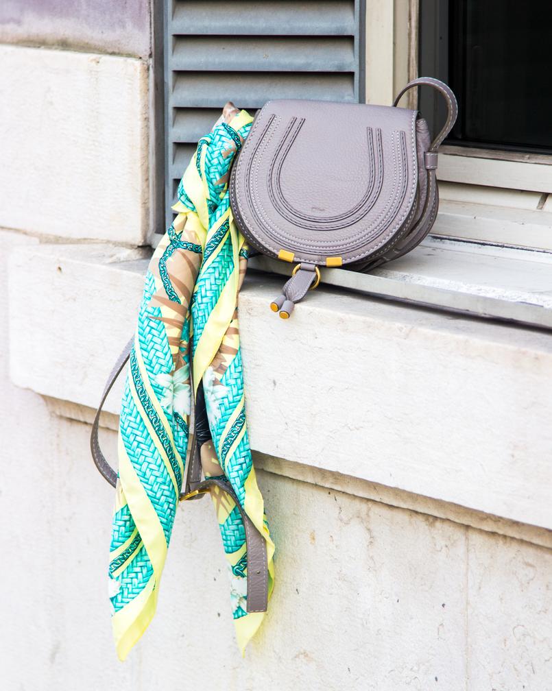 Le Fashionaire Faz acontecer! janela moda inspiracao lenco verde estampado amarelo pantera hm chloe mini marcie gray leather 6669 PT 805x1008