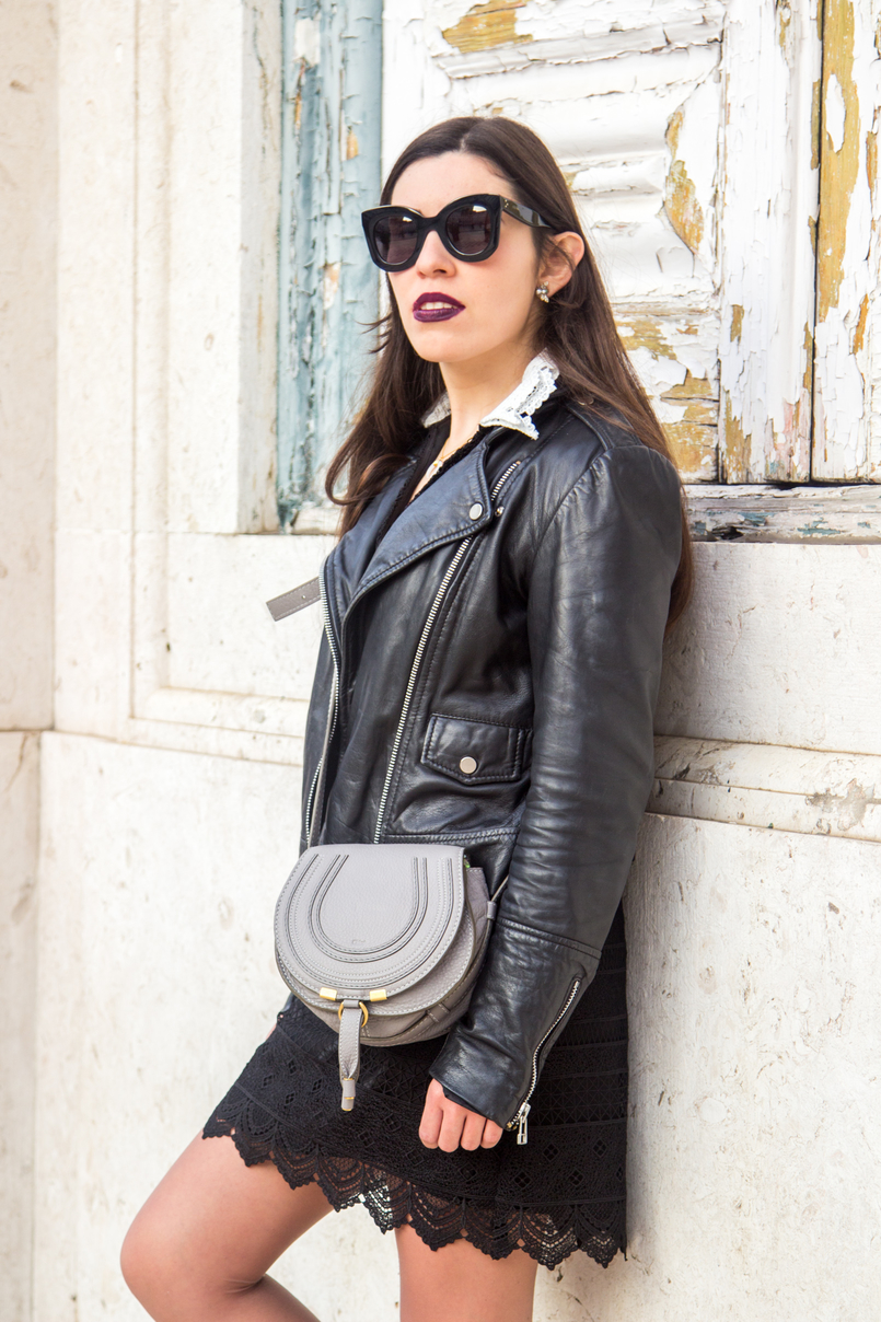 Le Fashionaire Should we all be feminists? lace black white neck zara dress chloe mini marcie grey leather bag black big bold celine sunglasses mango leather biker black jacket 6731 EN 805x1208