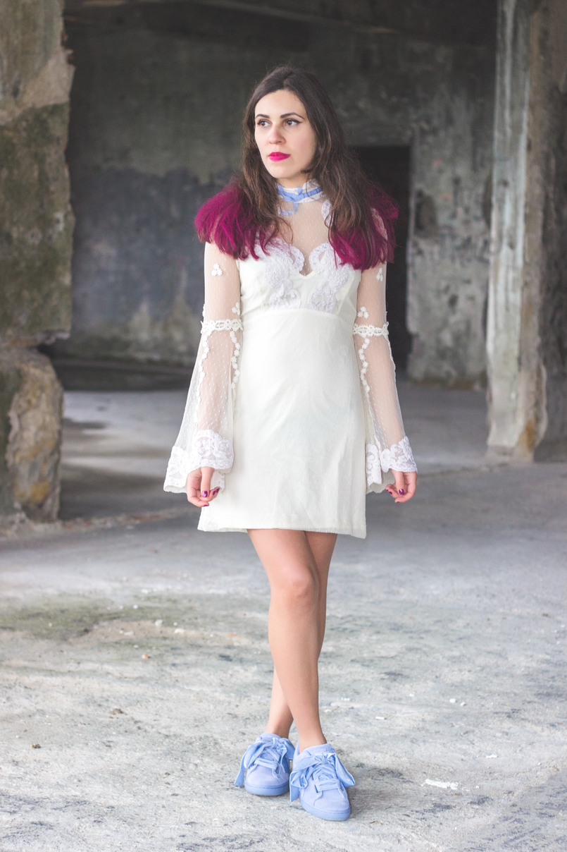 Le Fashionaire Pink hair dont care lace edwardian asos white dress lavender bow lavender velvet ribbons puma suede heart colorista pink loreal hair spray 1110 EN 805x1208
