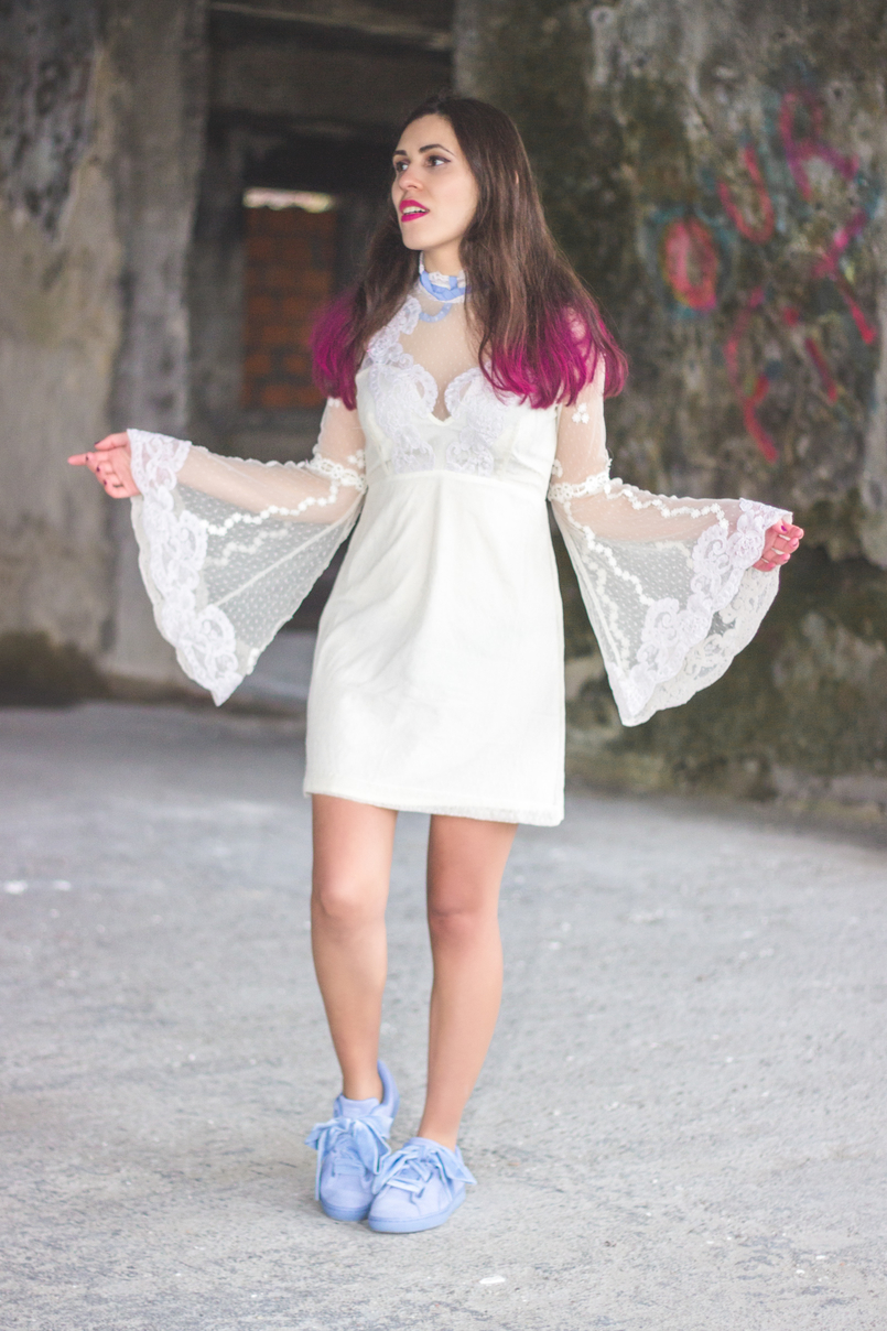 Le Fashionaire Pink hair dont care lace edwardian asos white dress lavender bow lavender velvet ribbons puma suede heart colorista pink loreal hair spray 1167 EN 805x1208