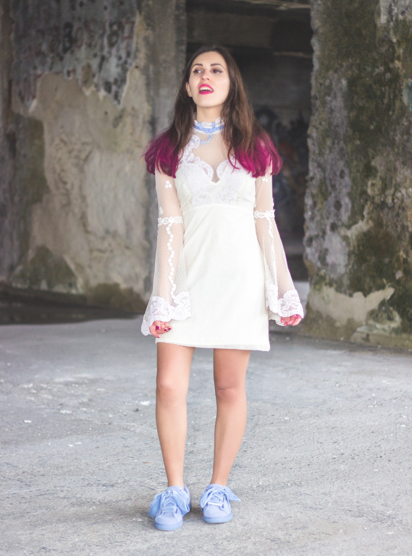 Le Fashionaire Pink hair dont care lace edwardian asos white dress lavender bow lavender velvet ribbons puma suede heart colorista pink loreal hair spray 1174 EN 805x1085