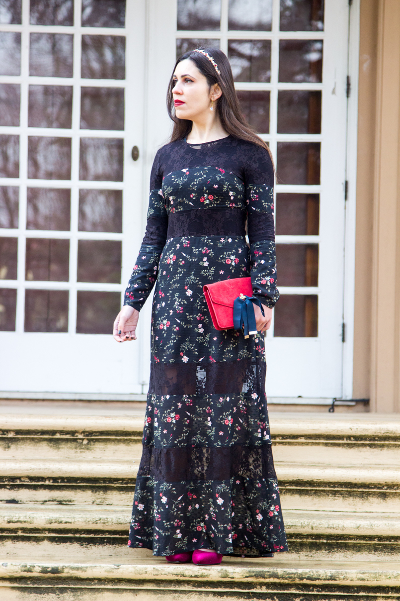 Le Fashionaire Winter flowers maxi black lace dress red flowers stradivarius red leather dark blue bows gold bee suede mango clutch crystal nude drop swarovski earrings 7075 EN 805x1208