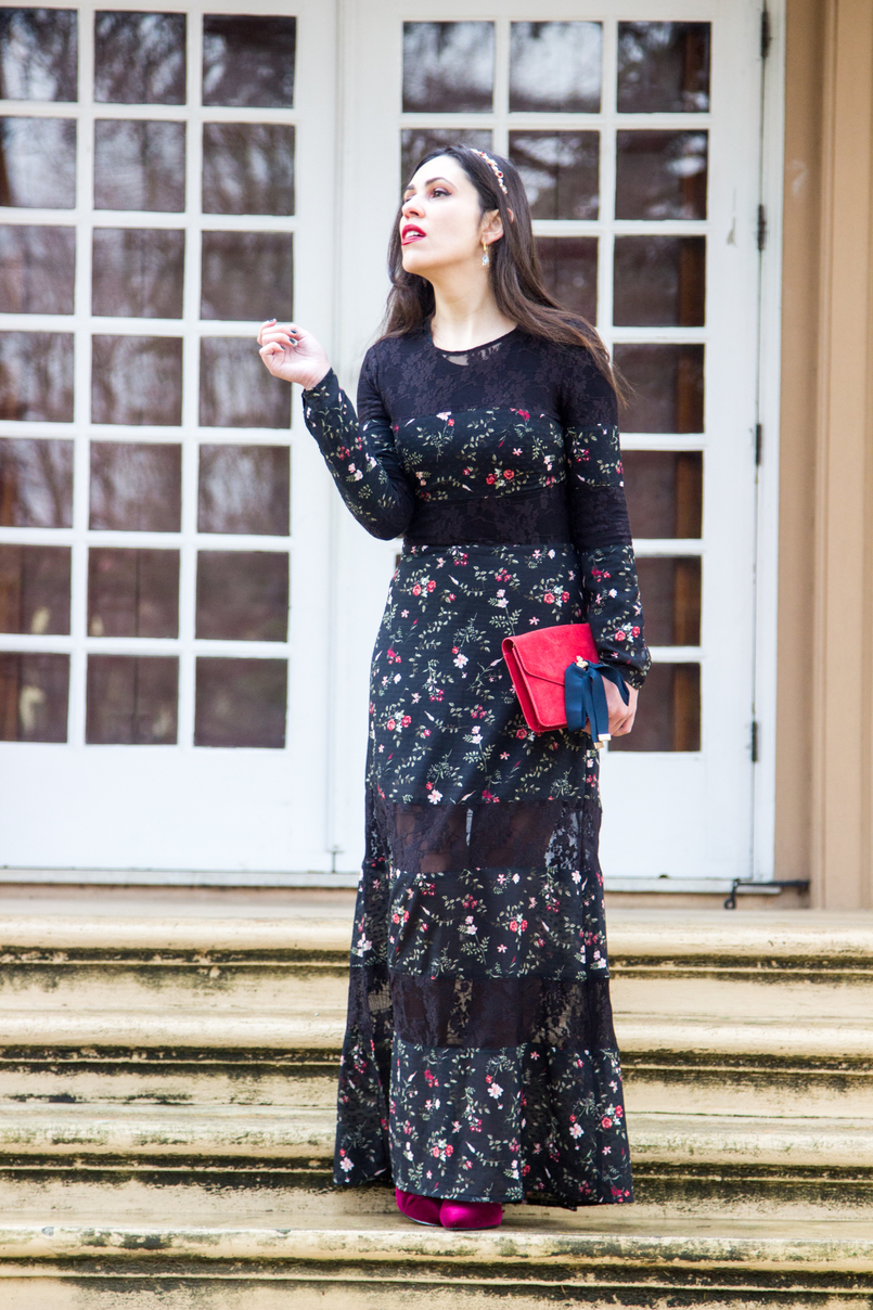 Le Fashionaire Winter flowers maxi black lace dress red flowers stradivarius red leather dark blue bows gold bee suede mango clutch crystal nude drop swarovski earrings 7076 EN 805x1208