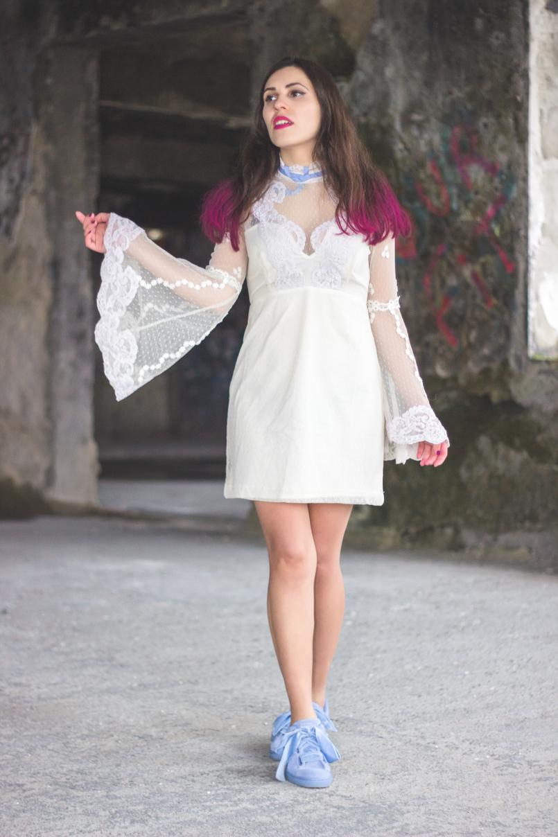 Le Fashionaire Sonhos cor de rosa vestido asos branco rendado eduardiano renda mangas sino laco azul puma suede heart lavanda azul lacos veludo spray rosa choque colorista loreal 1160 PT 805x1208