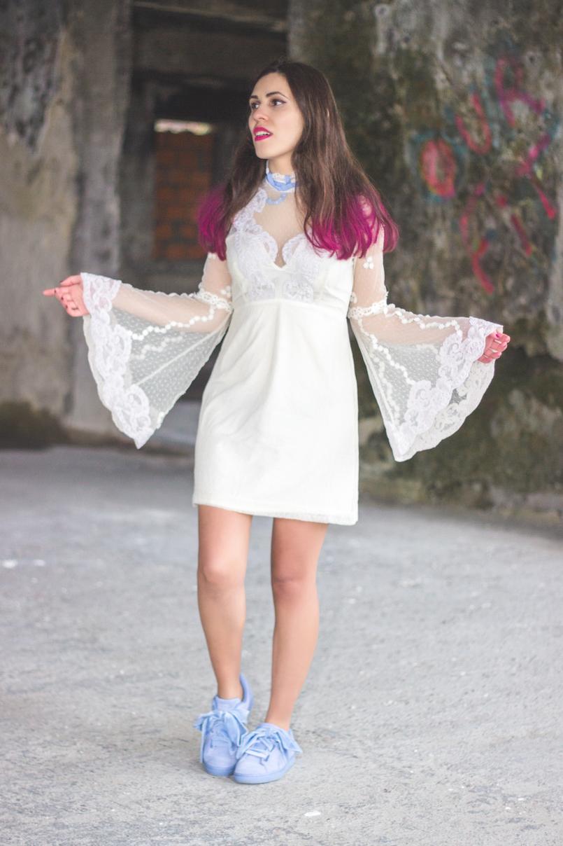 Le Fashionaire Sonhos cor de rosa vestido asos branco rendado eduardiano renda mangas sino laco azul puma suede heart lavanda azul lacos veludo spray rosa choque colorista loreal 1167 PT 805x1208