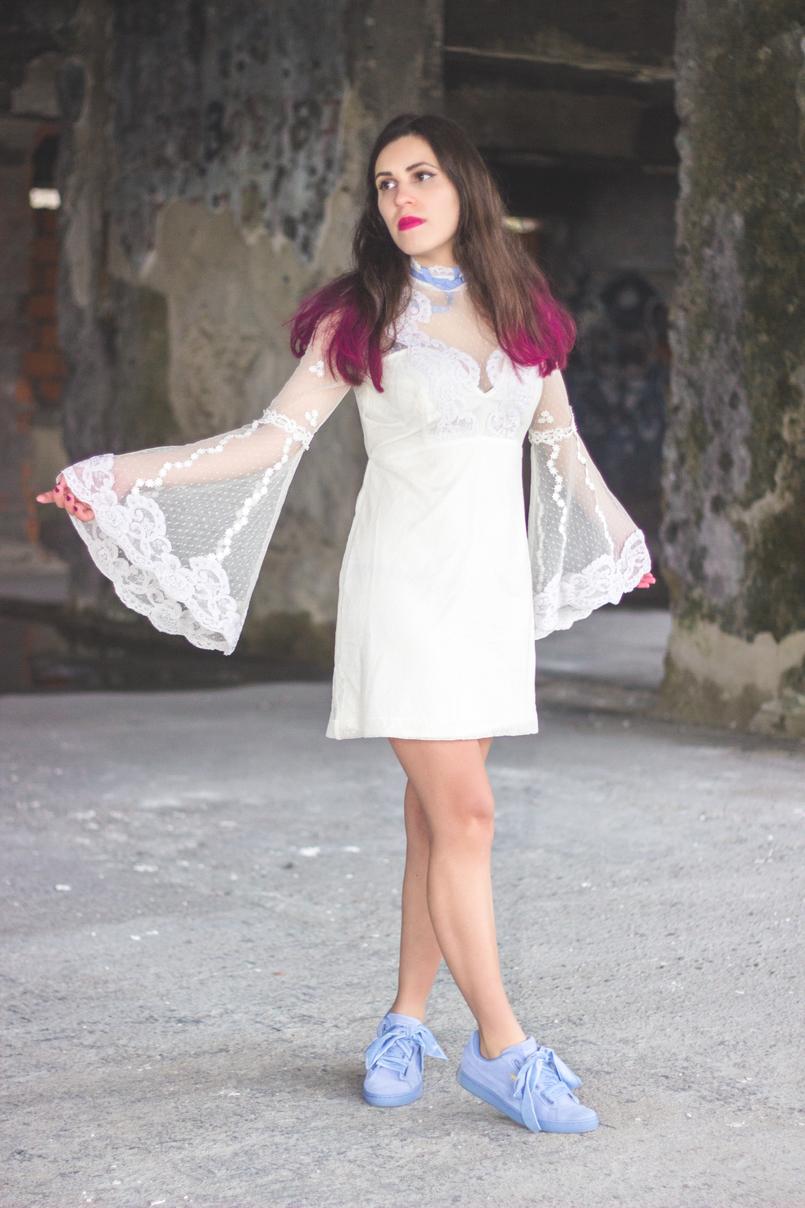 Le Fashionaire Sonhos cor de rosa vestido asos branco rendado eduardiano renda mangas sino laco azul puma suede heart lavanda azul lacos veludo spray rosa choque colorista loreal 1172 PT 805x1208