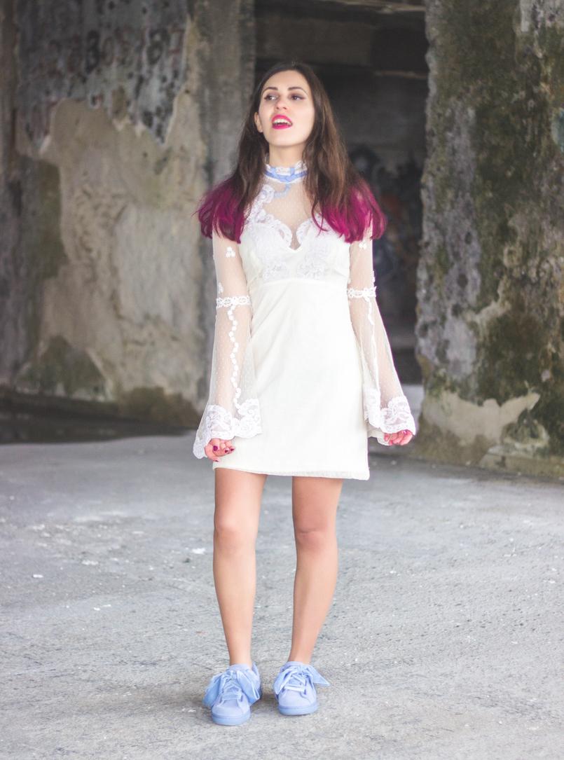 Le Fashionaire Sonhos cor de rosa vestido asos branco rendado eduardiano renda mangas sino laco azul puma suede heart lavanda azul lacos veludo spray rosa choque colorista loreal 1174 PT 805x1085
