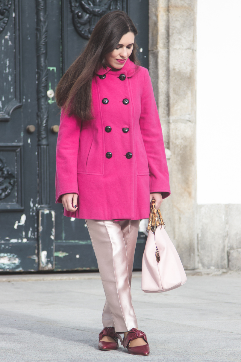 Le Fashionaire 50 shades of pink wool pink coat outerwear front buttons zara pale pink sparkling zara trousers leather pointy bow red zara flats pale pink bamboo parfois bag 7280 EN 805x1208