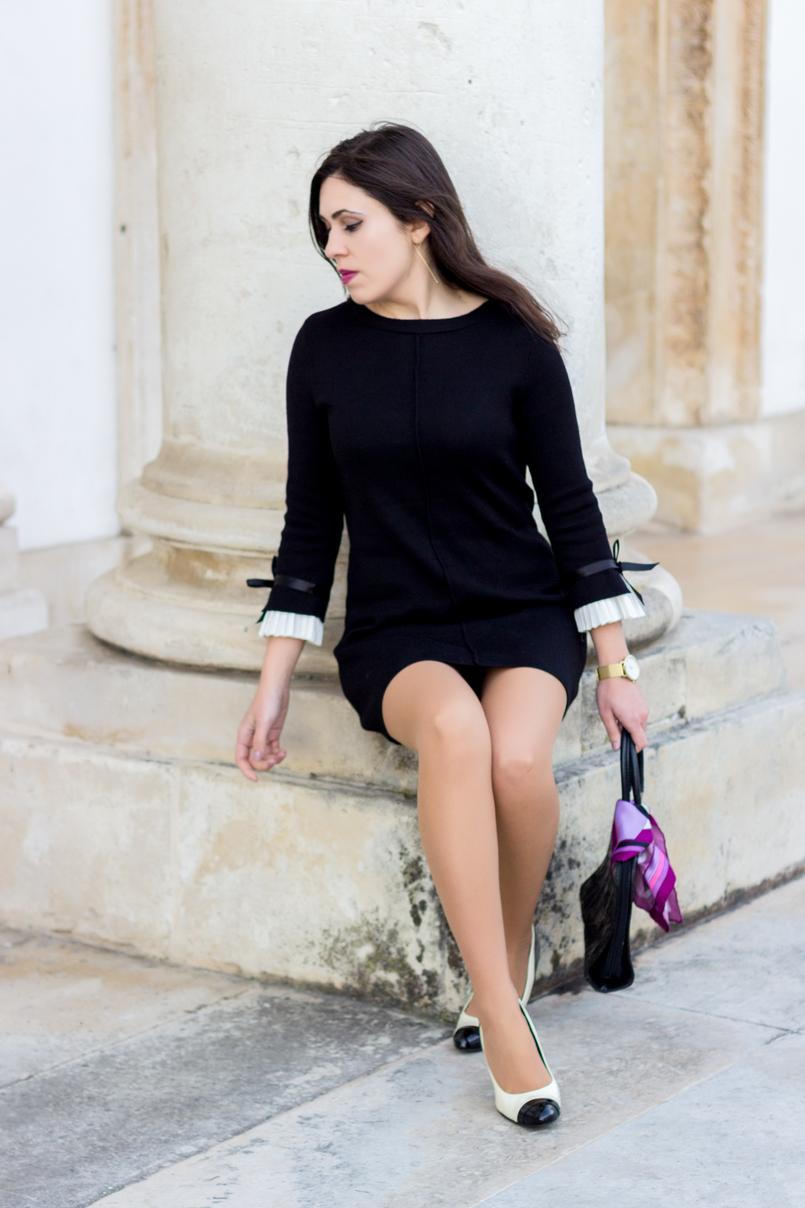 Le Fashionaire Are blogs dead? black minusey dress bow white sleeves black white zara heels chanel like long hm gold earrings 2118 EN 805x1208