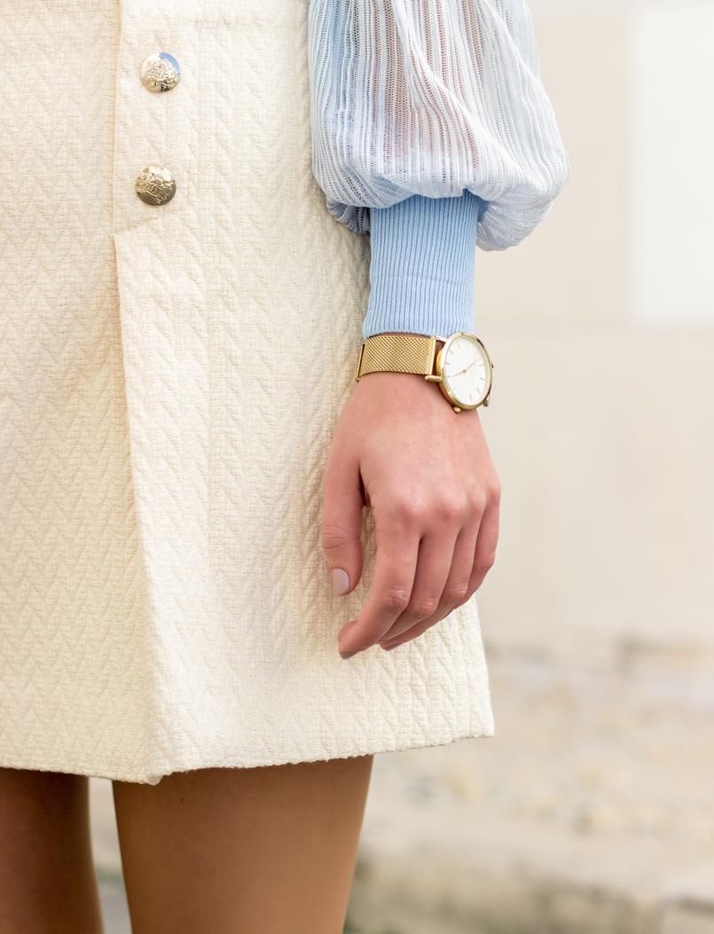 Le Fashionaire Medo da solidão saia mango branca botoes frente dourados Relogio dourado rosefield watches 1972 PT 805x1053