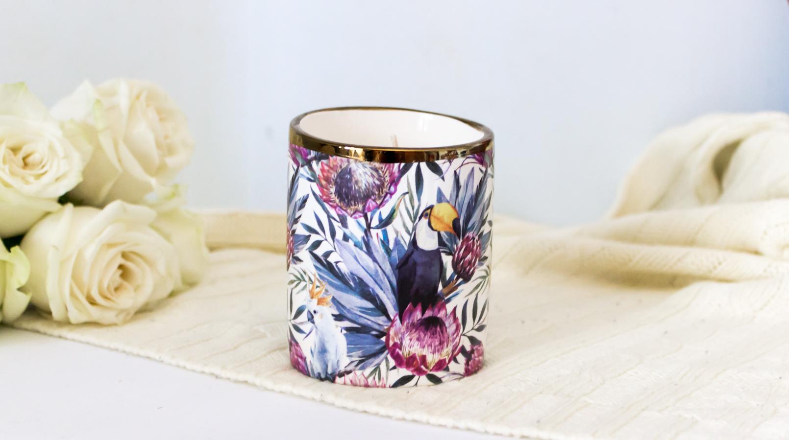 Le Fashionaire Candle light tropical toucans flowers primark candle 5416F EN