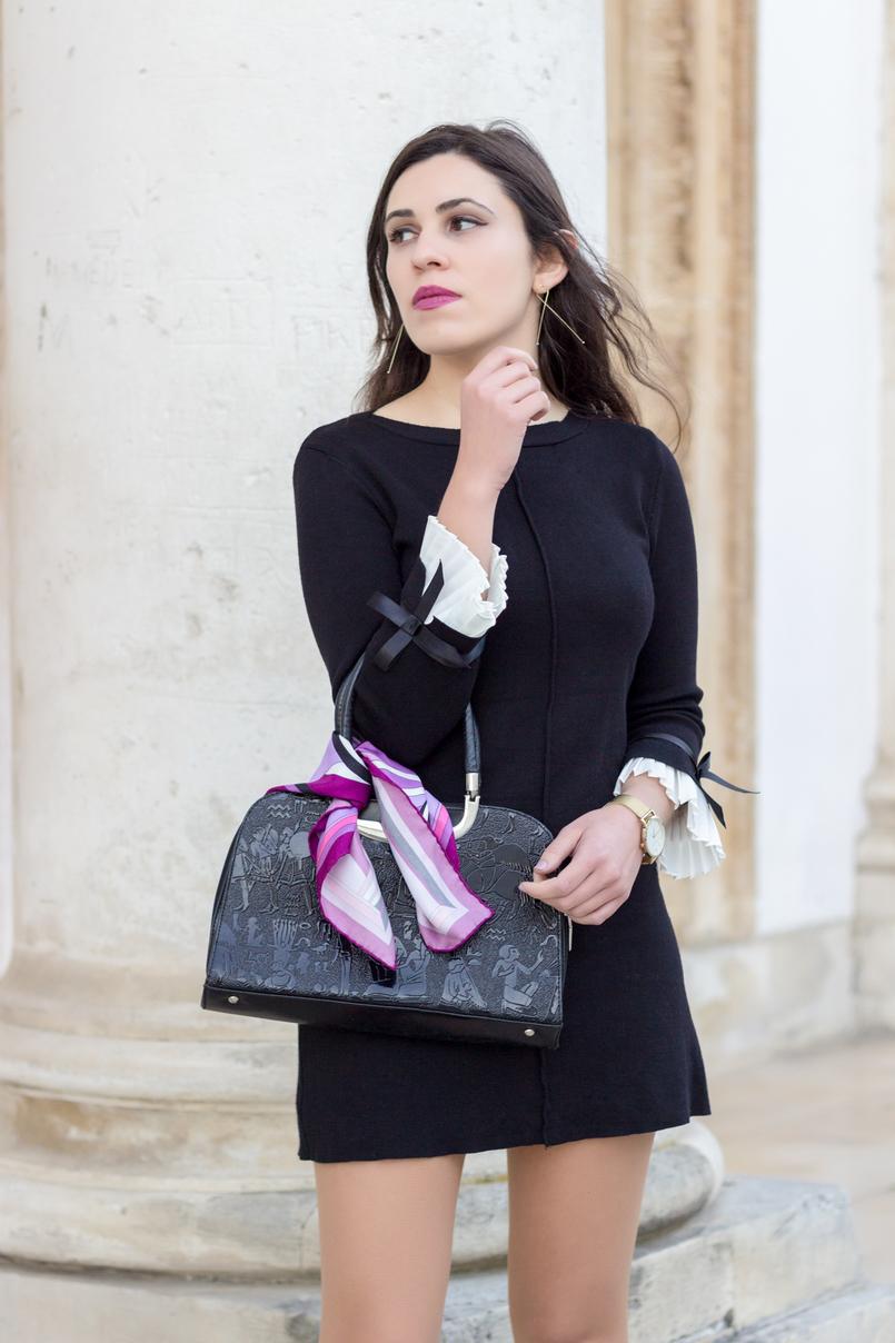 Le Fashionaire Os blogues estão esquecidos? vestido preto mangas brancas laco minusey lenco rosa arabescos estampado emilio pucci brincos dourados compridos finos hm 2182 PT 805x1208