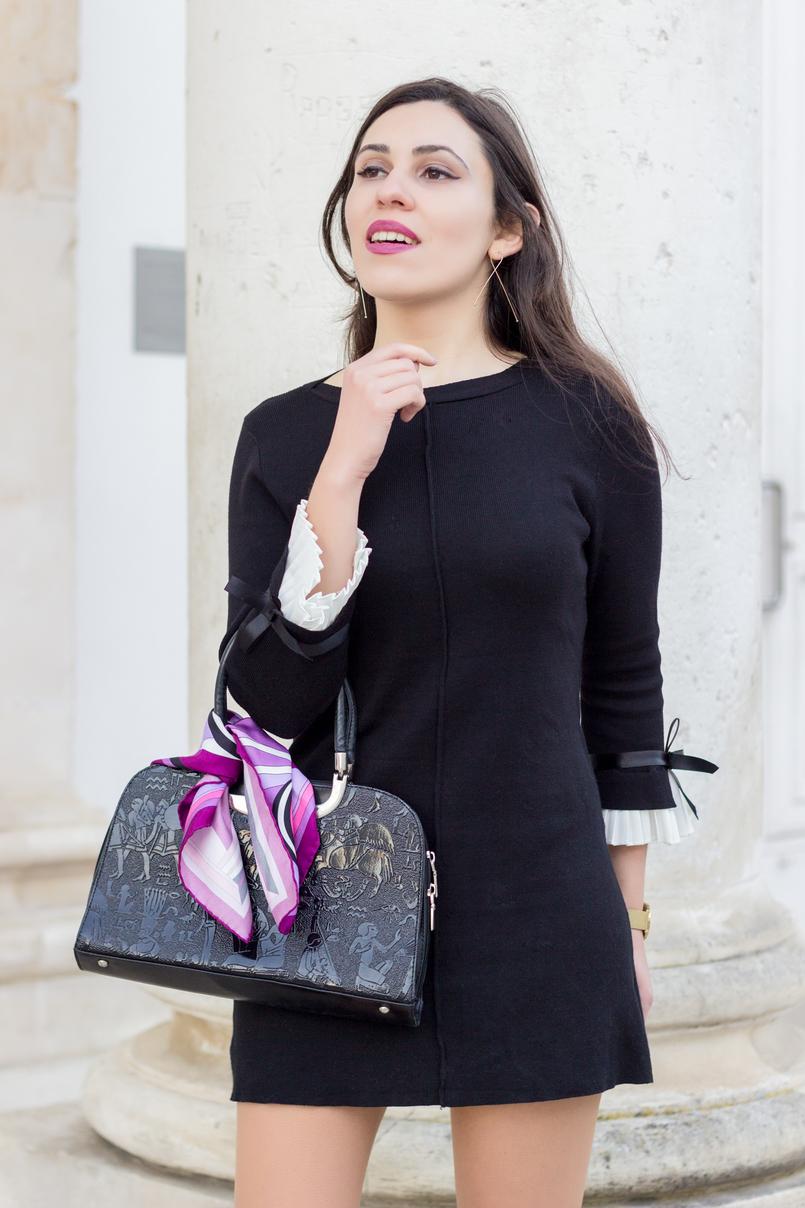 Le Fashionaire Os blogues estão esquecidos? vestido preto mangas brancas laco minusey lenco rosa arabescos estampado emilio pucci brincos dourados compridos finos hm 2189 PT 805x1208
