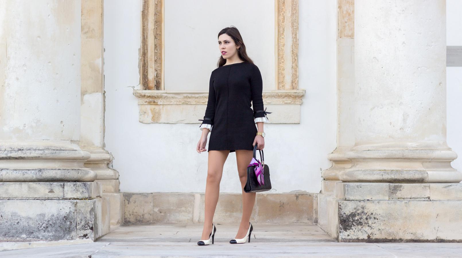 Le Fashionaire Os blogues estão esquecidos? vestido preto mangas brancas laco minusey sapatos pretos brancos estilo chanel zara saltos lenco rosa arabescos estampado emilio pucci 2150F PT