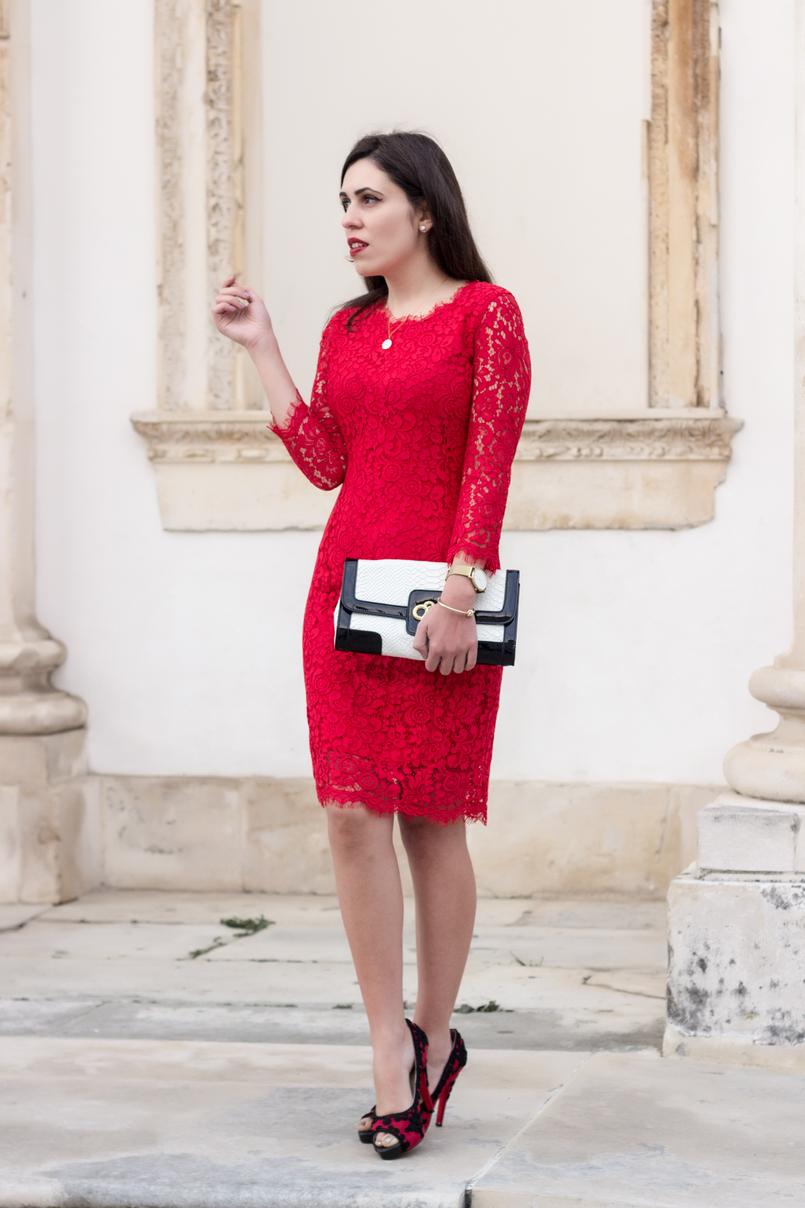 Le Fashionaire Fala me de amor vestido vermelho midi renda hm sapatos vermelhos pretos christian louboutin bordados clutch preta branca pele serpente 0084 PT 805x1208
