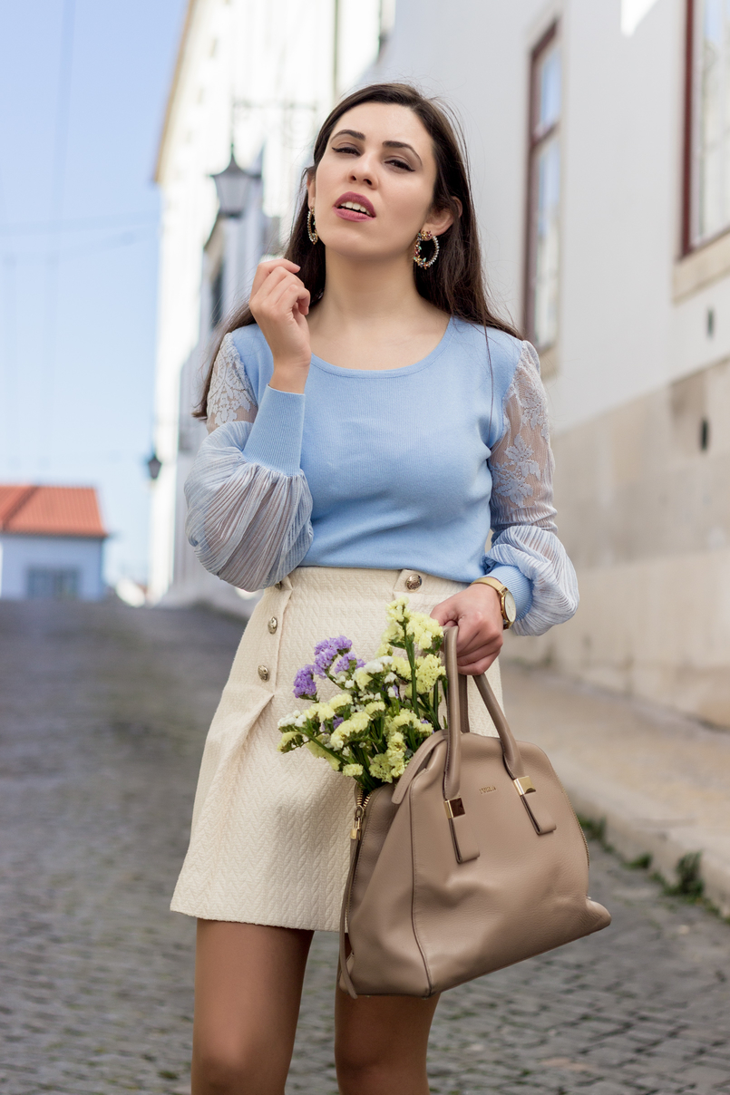 Le Fashionaire Scared To Be Lonely white front gold button mango skirt lavender sweater lace sleeves furla twiggy nude gold bag round flowers spring mango earrings 2017 EN 805x1208