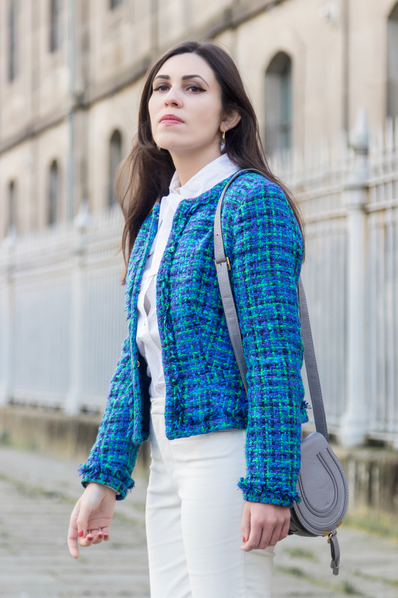 Le Fashionaire Influencers: freedom or manipulation? blogger catarine martins fashion inspiration blue green globe tweed jacket gray mini marcie leather bag chloe white zara trousers 8288 EN 805x1208