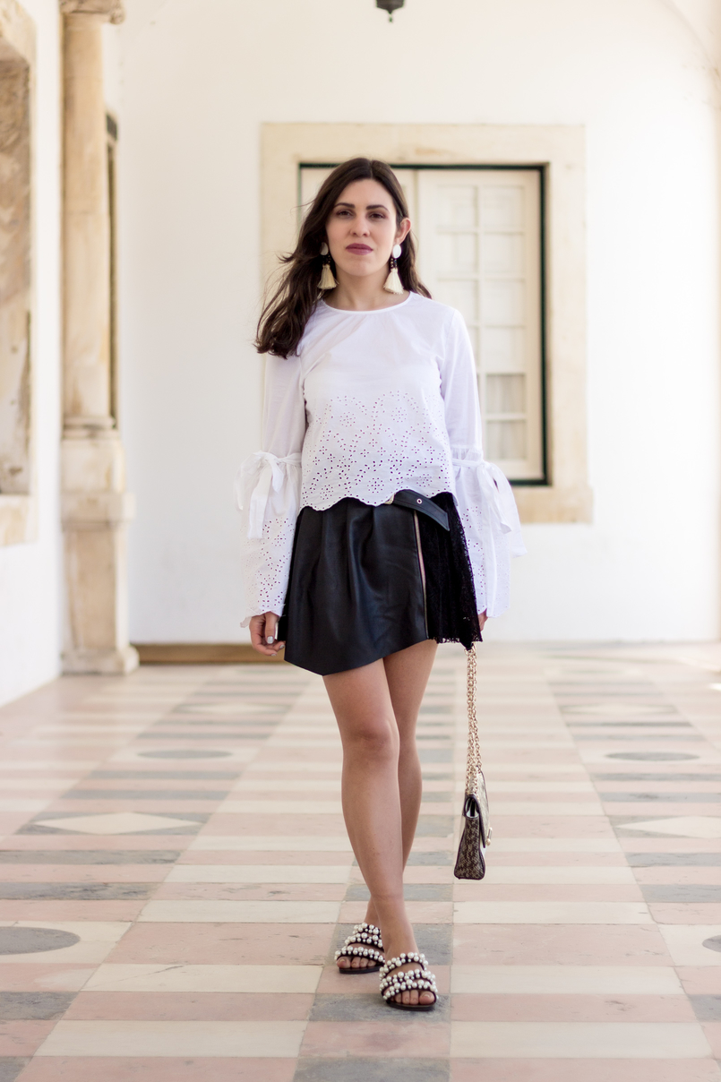 Le Fashionaire On trend: bell sleeves english embroidered flare sleeves bow zara fake leather silver buckle lace girly zara skirt pearls zara flip flops white black 2744 EN 805x1208