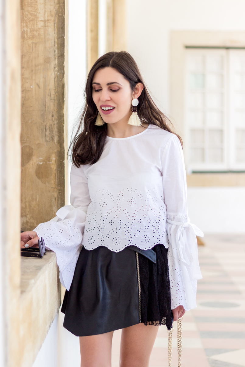 Le Fashionaire On trend: bell sleeves english embroidered flare sleeves bow zara fake leather silver buckle lace girly zara skirt tassels bold brown mango trendy earrings white black 2764 EN 805x1208