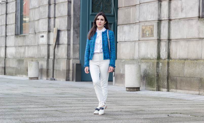 Le Fashionaire Influencers: freedom or manipulation? fashion inspiration blue green globe tweed jacket white zara trousers white bow victorian hm shirt white leather black bow eureka shoes 8266 EN 805x488