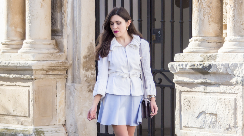 Le Fashionaire Are those who love fashion futile? fashion inspiration white ruffles zara jacket lavander lefties skirt lavender puma suede heart velvet sneakers purple lilac parfois bag 8978F EN 805x450
