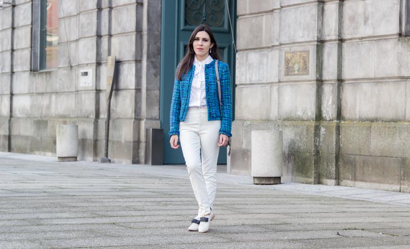 Le Fashionaire Influenciadores: liberdade ou manipulação? moda inspiracao casaco tweed azul verde globe calcas brancas zara camisa branca laco vitoriana hm sapatos brancos laco preto eureka 8266 PT 805x488