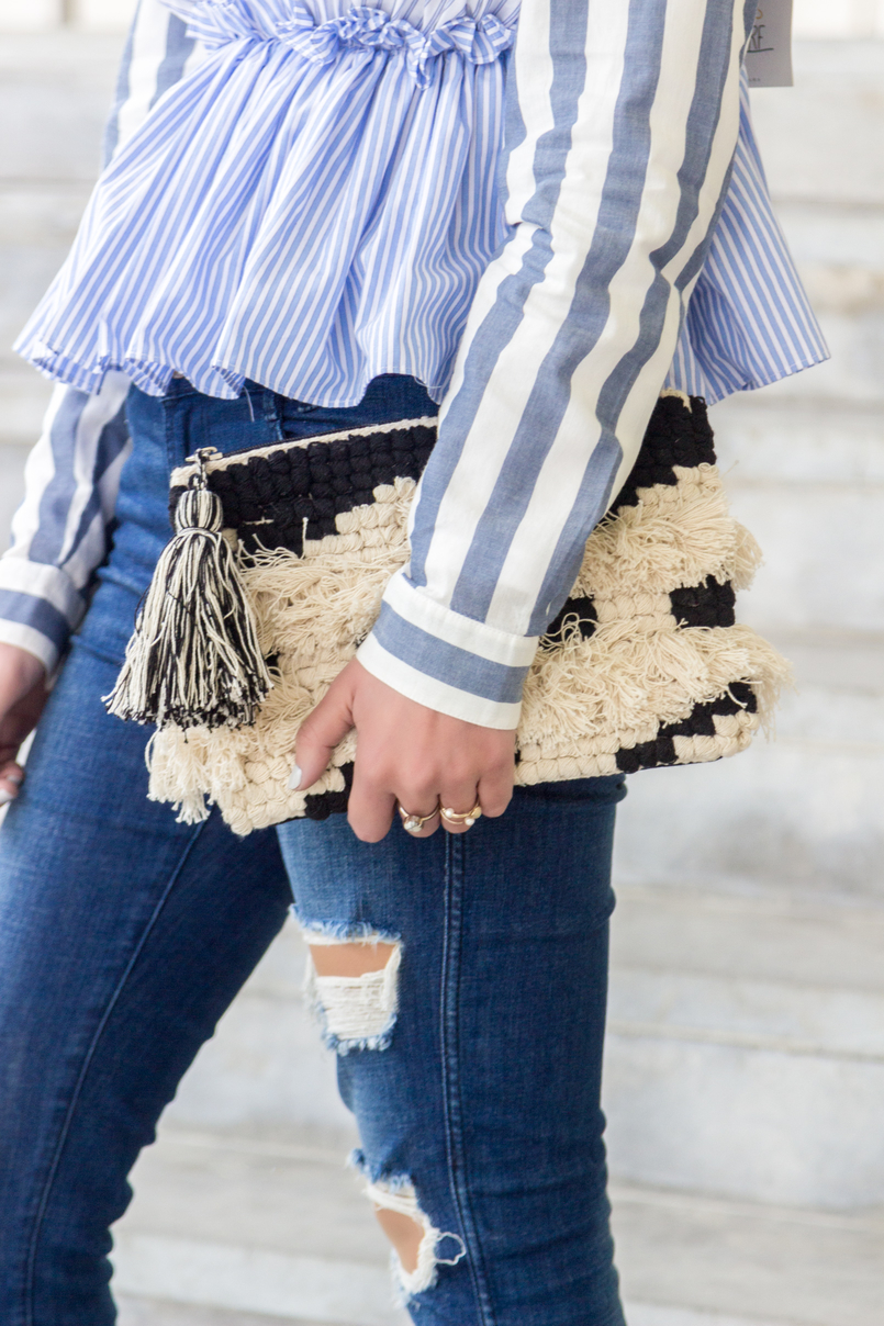 Le Fashionaire Delete those who don't risk anything for you pale blue white stripes asos shirt zara black bow white blue stripes top zara ripped jeans black white craft sfera clutch 7661 EN 805x1208