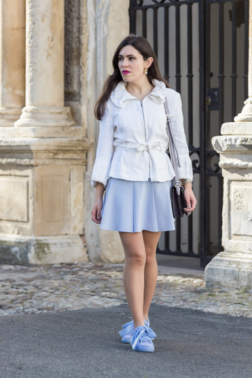 Le Fashionaire Are those who love fashion futile? white ruffles zara jacket lavander lefties skirt lavender puma suede heart velvet sneakers purple lilac parfois bag pearl gold leaf earrings 8910 EN 805x1208