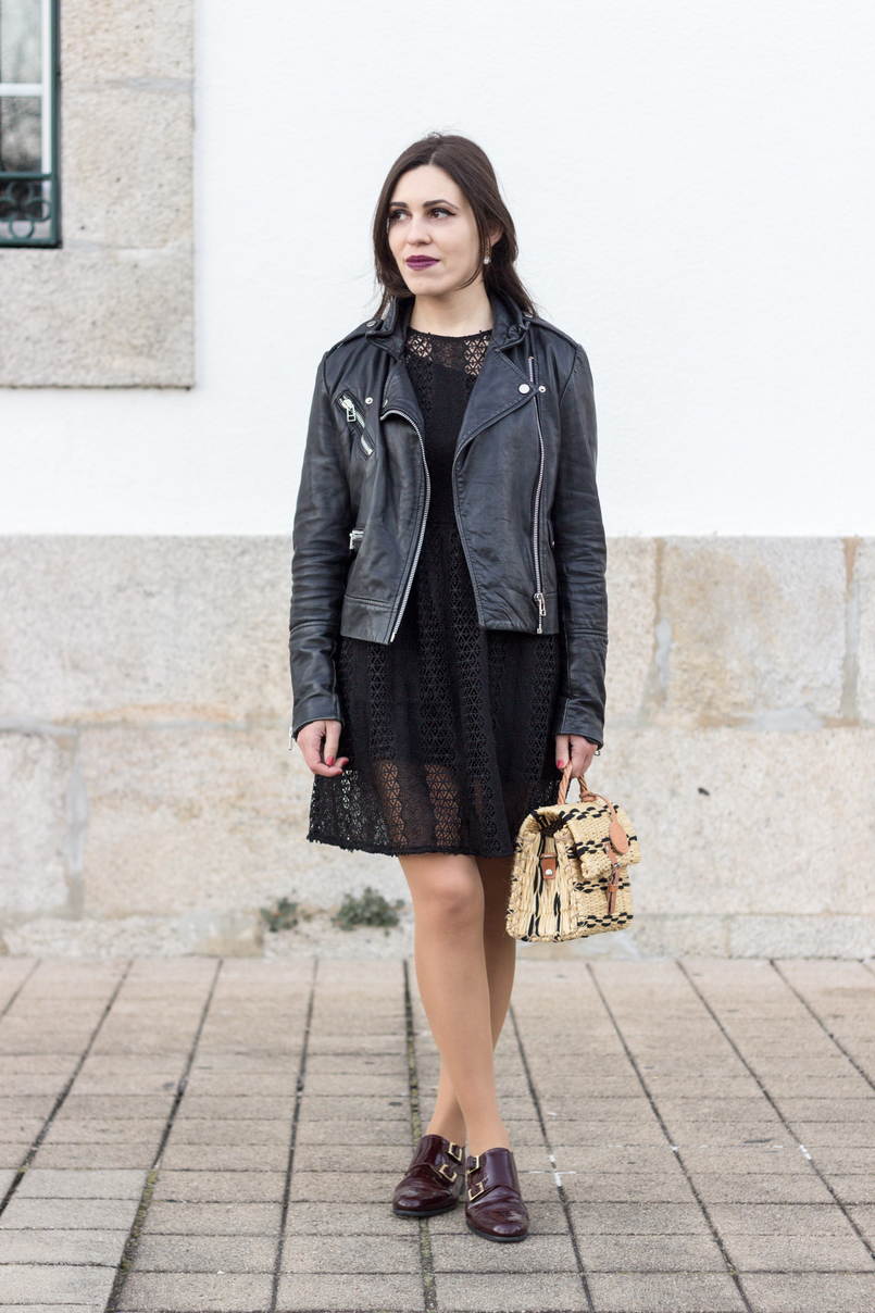 Le Fashionaire Introduce yourself to opportunities! black zara lace dress leather biker jacket black mango burgundy monk leather eureka shoes straw bag black camel toino abel handmade 8354 EN 805x1208