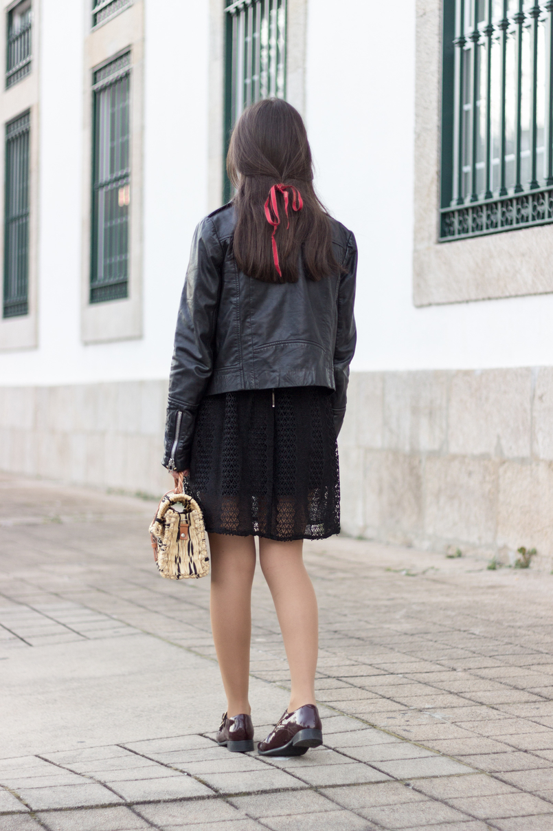 Le Fashionaire Introduce yourself to opportunities! black zara lace dress leather biker jacket black mango burgundy monk leather eureka shoes straw bag black camel toino abel handmade 8376 EN 805x1208