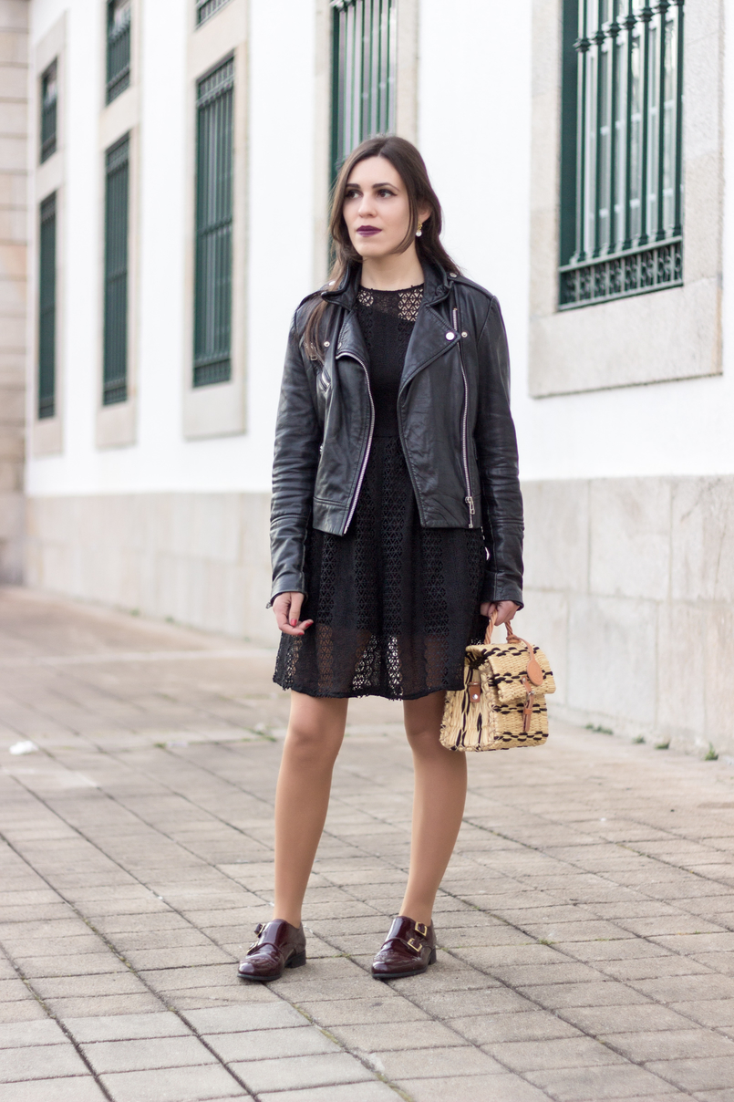 Le Fashionaire Introduce yourself to opportunities! black zara lace dress leather biker jacket black mango burgundy monk leather eureka shoes straw bag black camel toino abel handmade 8441 EN 805x1208