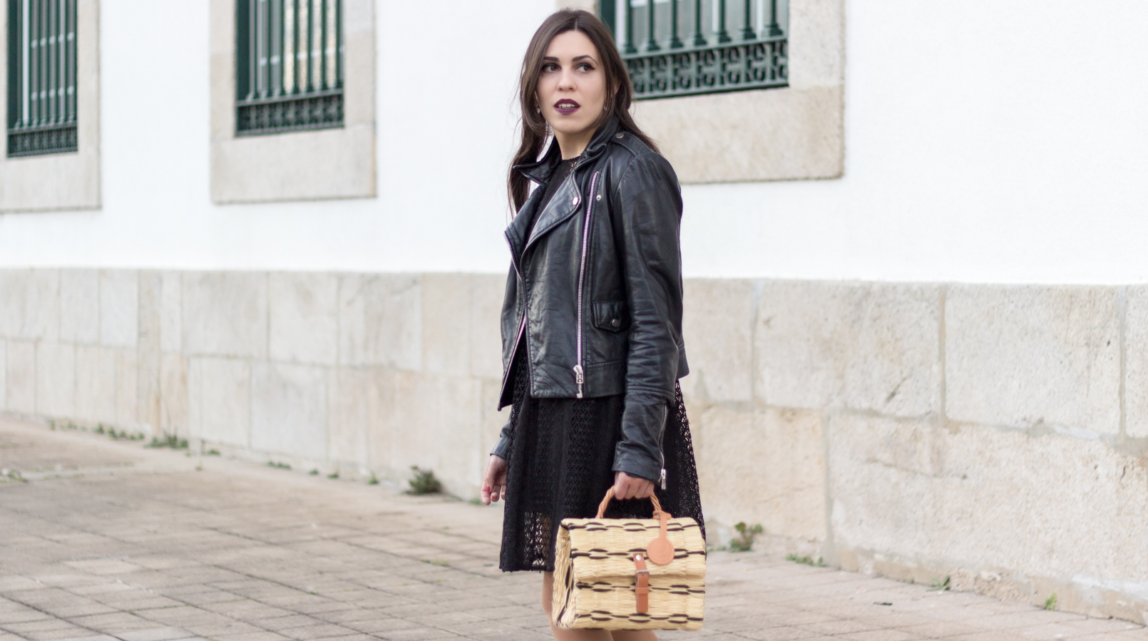 Le Fashionaire Introduce yourself to opportunities! black zara lace dress leather biker jacket black mango straw bag black camel toino abel handmade Dark mac instigator lipstick 8381F EN