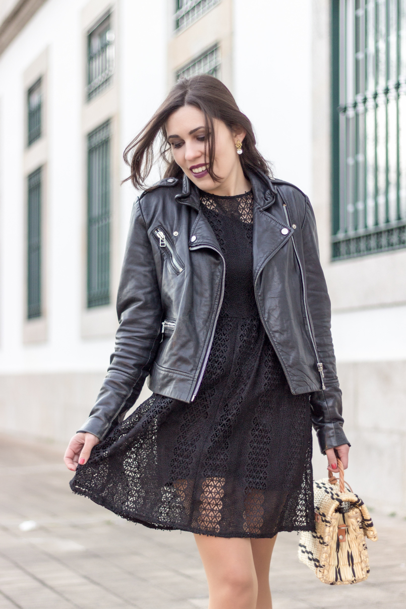 Le Fashionaire Introduce yourself to opportunities! black zara lace dress leather biker jacket black mango straw bag black camel toino abel handmade Dark mac instigator lipstick 8424 EN 805x1208