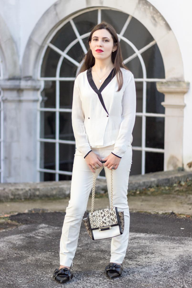 Le Fashionaire Como usar branco total calcas brancas zara sapatos lacos pretos bicudos zara mala diane von furstenberg pele branca cobra corrente dourada 9095 PT 805x1208