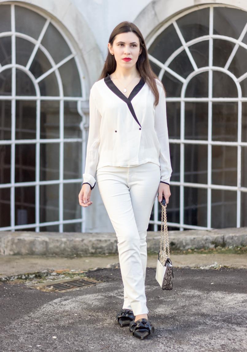 Le Fashionaire Como usar branco total camisa branca pormenores pretos botoes zara calcas brancas zara sapatos lacos pretos bicudos zara colar cinco prata dourada madreperola 9028 PT 805x1146