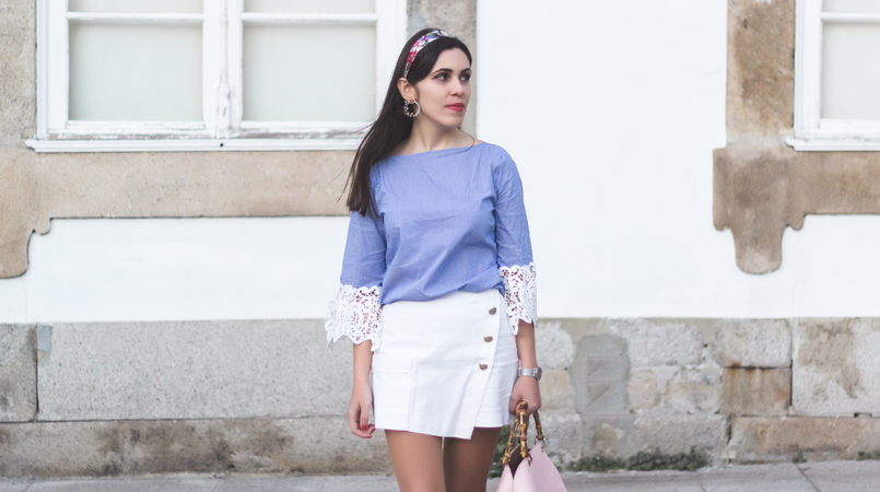 Le Fashionaire We are the others! light blue stripes embroidered sleeves zara blouse zara white gold buttons skirt light pink bamboo parfois bag 8737F EN 805x450
