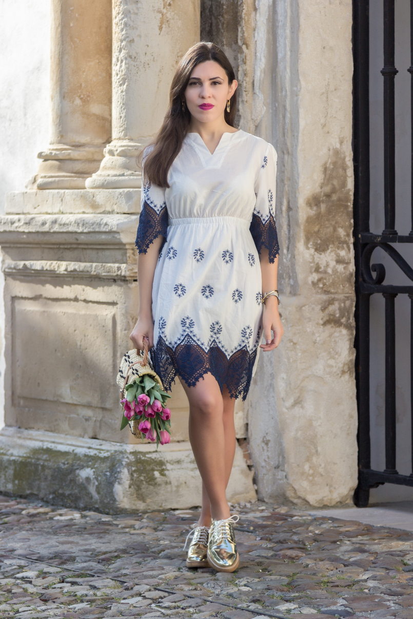 Le Fashionaire How did we get so selfish? white dark blue cotton lace embroidered shein dress gold mango oxford shoes 8813 EN 805x1208