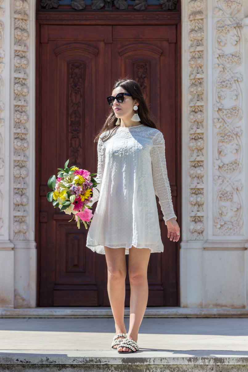 Le Fashionaire Personal: My surgery white embroidered zara girly dress black celine marta sunglasses pearls black white zara flat sandals white tassels brown bold mango earrings 2372 EN 805x1208