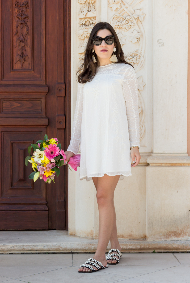 Le Fashionaire Personal: My surgery white embroidered zara girly dress flowers bouquet pink white colorul black celine marta sunglasses pearls black white zara flat sandals 2240 EN 805x1198