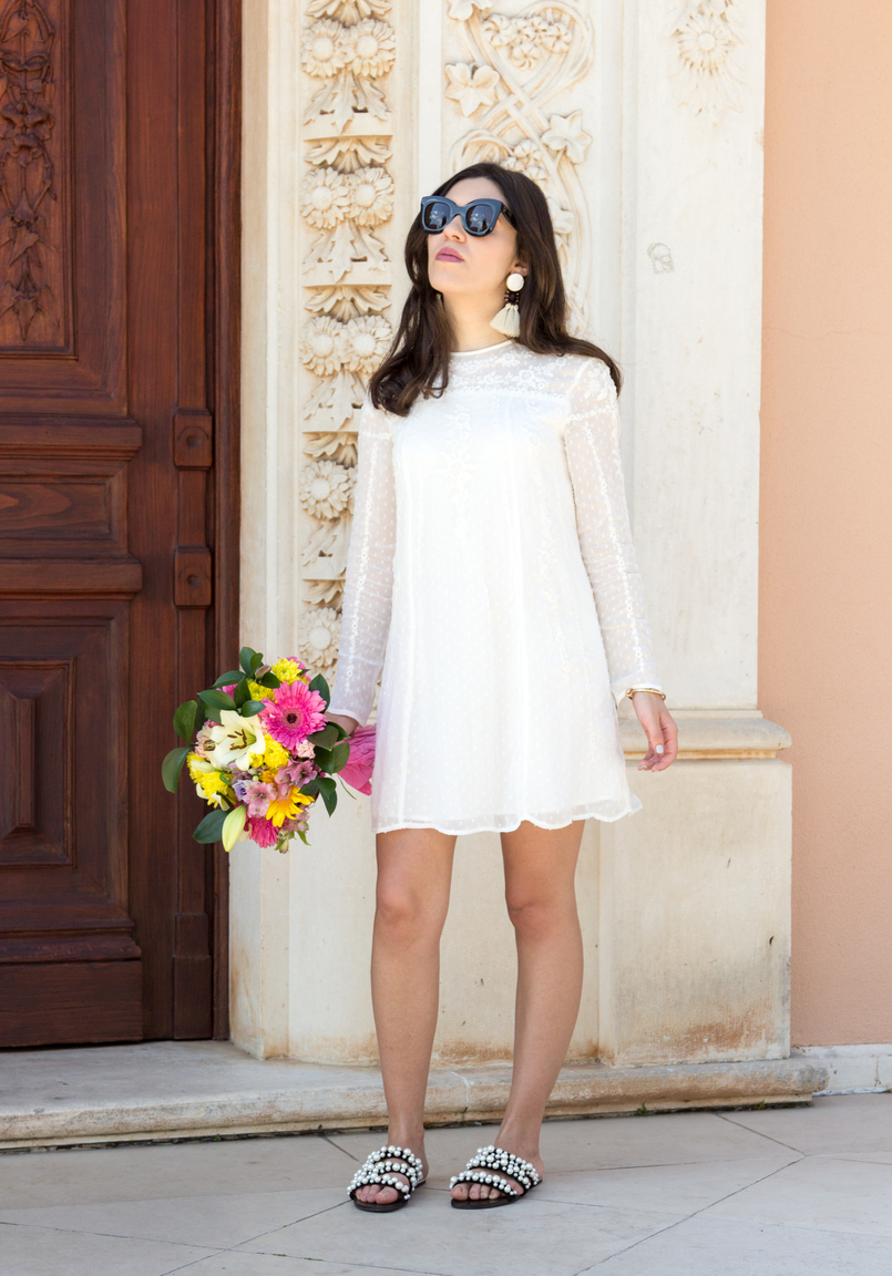 Le Fashionaire Personal: My surgery white embroidered zara girly dress flowers bouquet pink white colorul black celine marta sunglasses pearls black white zara flat sandals 2246 EN 805x1152