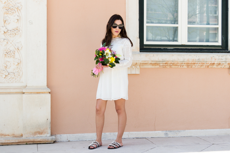 Le Fashionaire Personal: My surgery white embroidered zara girly dress flowers bouquet pink white colorul black celine marta sunglasses pearls black white zara flat sandals 2286 EN 805x537
