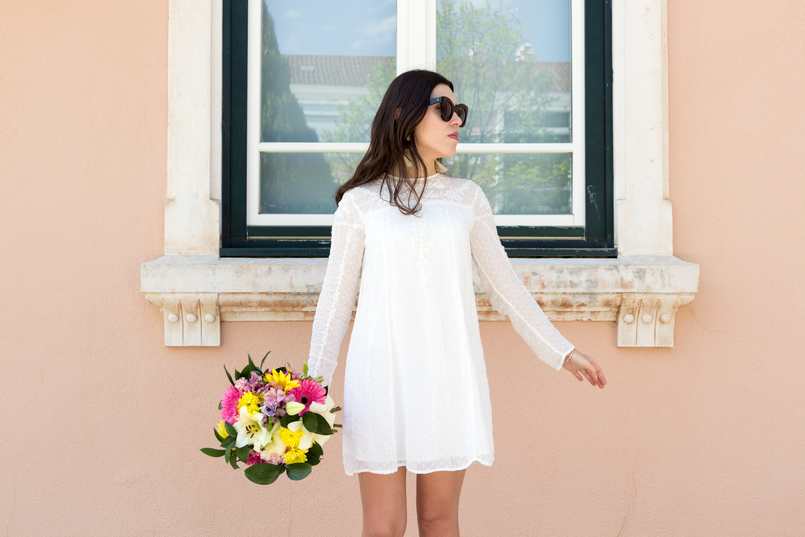 Le Fashionaire Personal: My surgery white embroidered zara girly dress flowers bouquet pink white colorul black celine marta sunglasses white tassels brown bold mango earrings 2335 EN 805x537