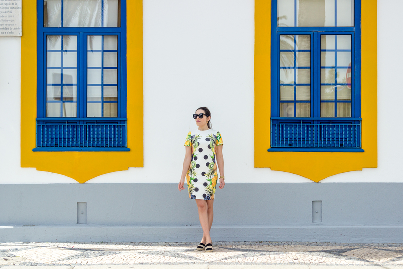 Le Fashionaire Where to shop for cool dresses? bodycon white black dots tropical pineapple lemon kiwi grape green asos dress espadrilles stripes black white suede zara city blue door 3658 EN 805x537