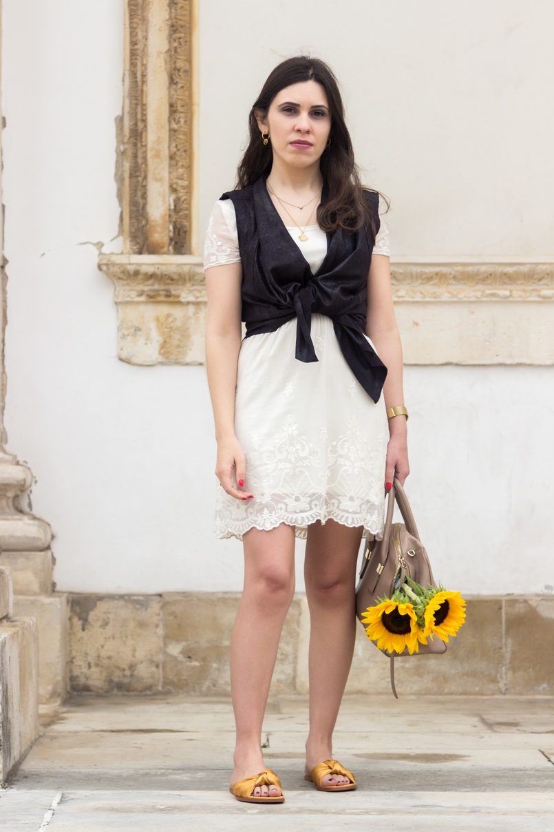 Le Fashionaire I wear my mum's clothes, and so what? summer embroidered white dress black leather zara vest yellow sunflowers blush furla twiggy bag yellow satin zara slides 4820 EN 805x1208