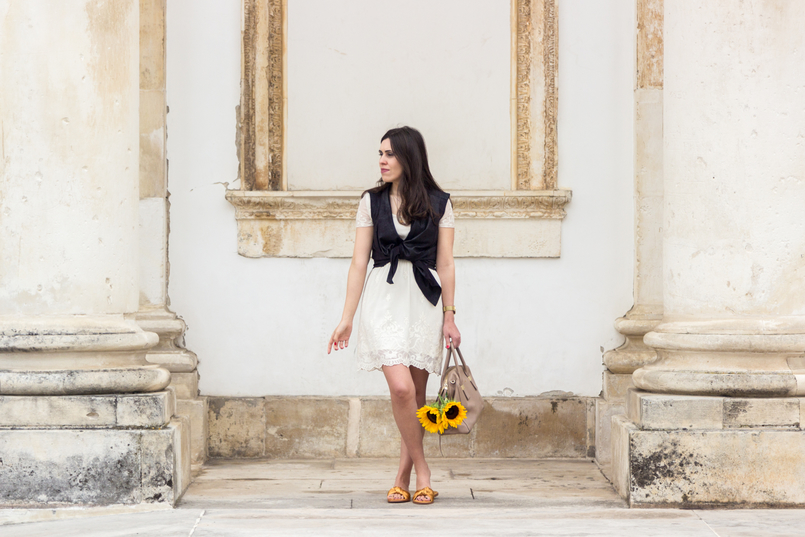 Le Fashionaire I wear my mum's clothes, and so what? summer embroidered white dress black leather zara vest yellow sunflowers blush furla twiggy bag yellow satin zara slides 4830 EN 805x537